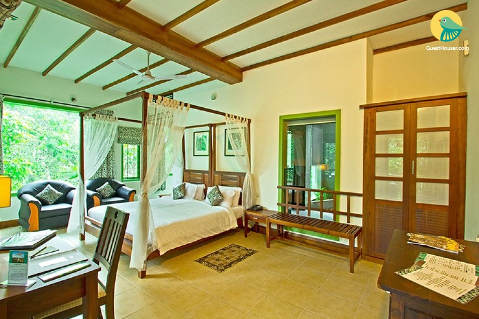 Luxurious room in a villa amidst lush greenery