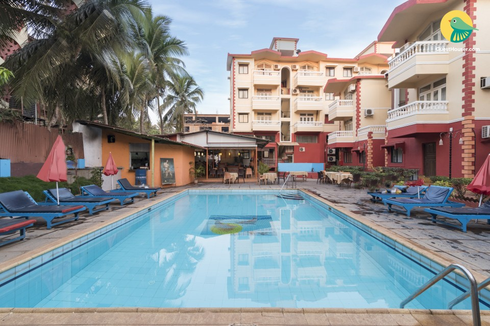 Cosy 1-BR apartment with shared pool, 1.3 km from Calangute Beach