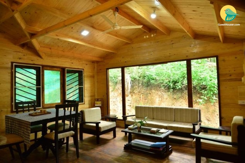 Wooden decorated room to stay