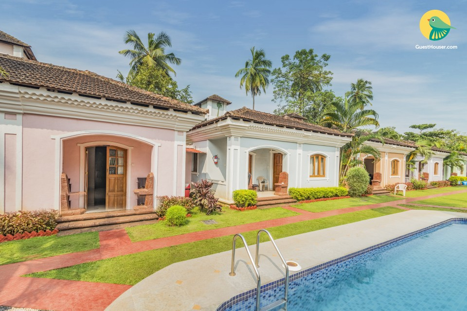 Family room in a restful villa, 1.1 km from Anjuna beach