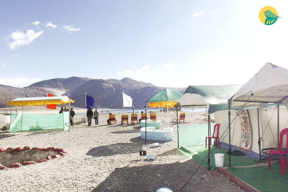 Commodious Swiss-style tent on the banks of Lake Pangong