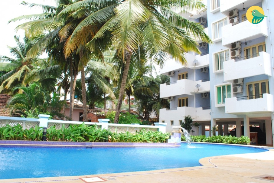 Pleasant stay for 3 in an apartment with pool, 2 km from Calangute beach