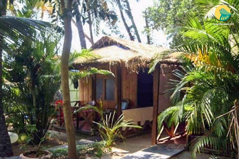 Cosy hut in a tropical grove, on Palolem beach