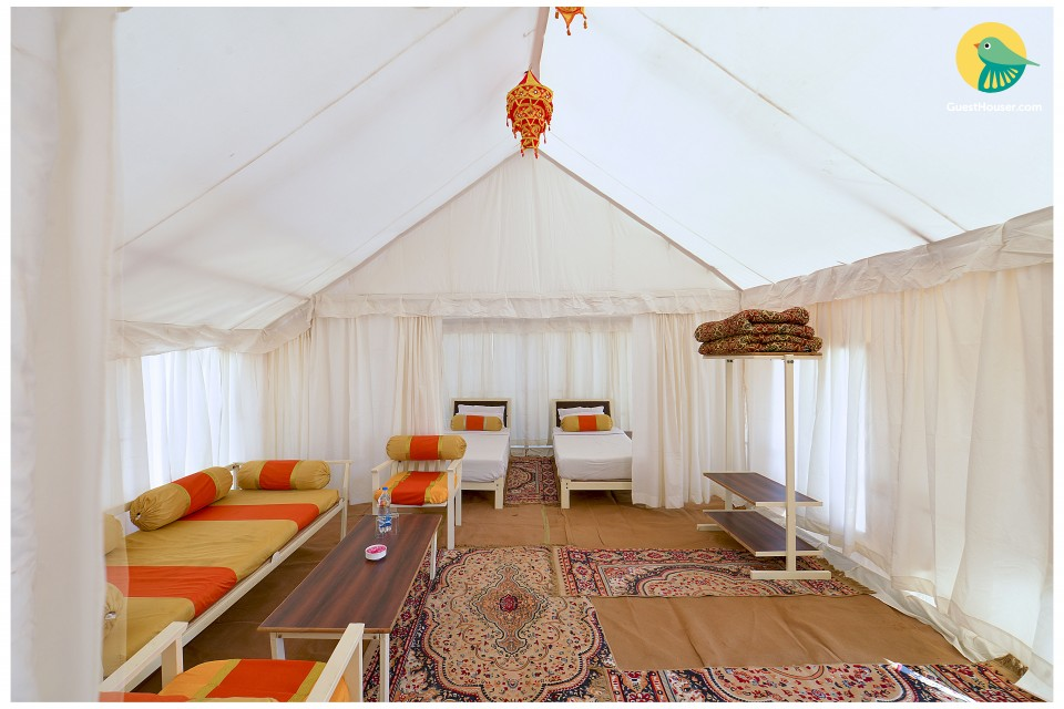 Well-furnished tent for four, ideal for a luxurious vacation