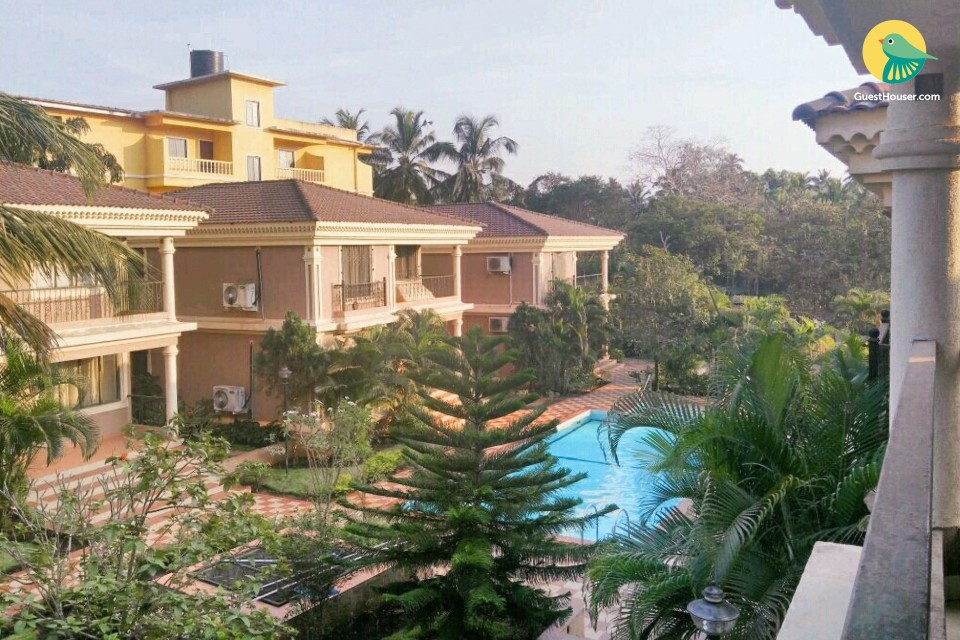 Contemporary 3 BHK villa with a pool, 1.6 km from Candolim beach