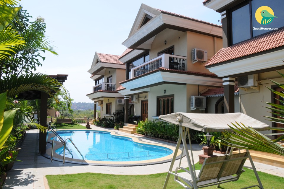 Majestic 3-BHK villa with a sun-splashed pool deck & jacuzzi