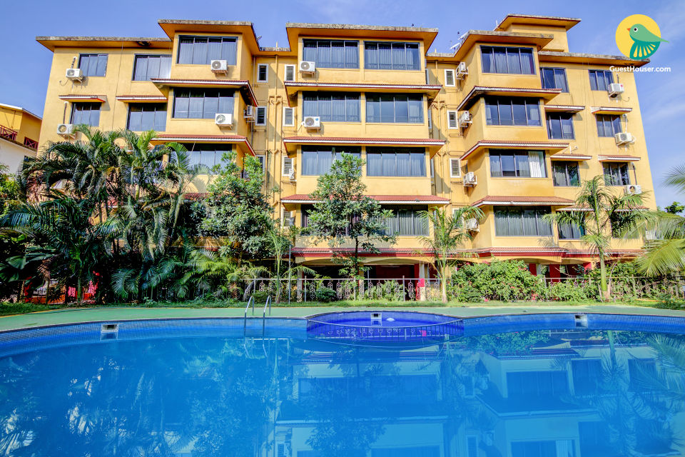 Commodious 2 BHK with a shared pool, near Vagator Beach